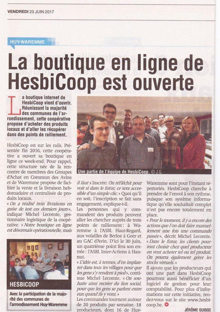 La Boutique de-Hesbicoop en ligne est ouverte